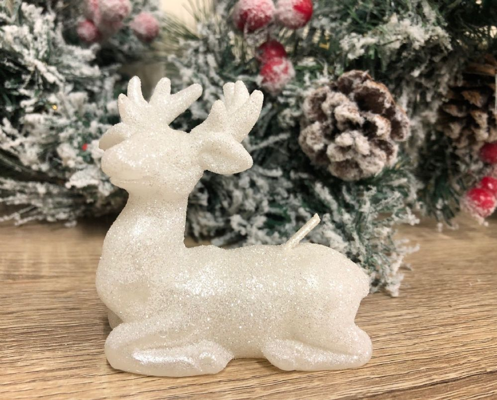 Large White Glitter Reindeer Candle